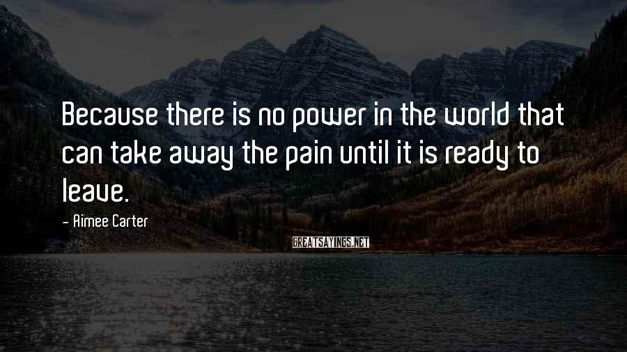 Aimee Carter Sayings: Because there is no power in the world that can take away the pain until