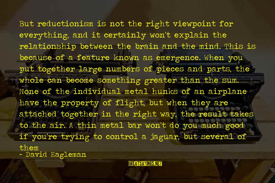 Airplane Parts Sayings By David Eagleman: But reductionism is not the right viewpoint for everything, and it certainly won't explain the