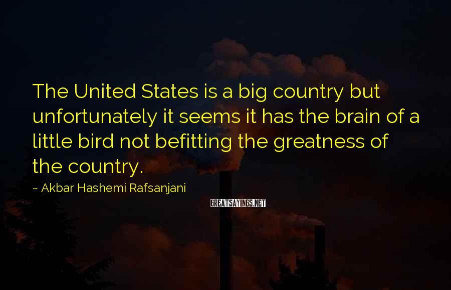 Akbar Hashemi Rafsanjani Sayings: The United States is a big country but unfortunately it seems it has the brain