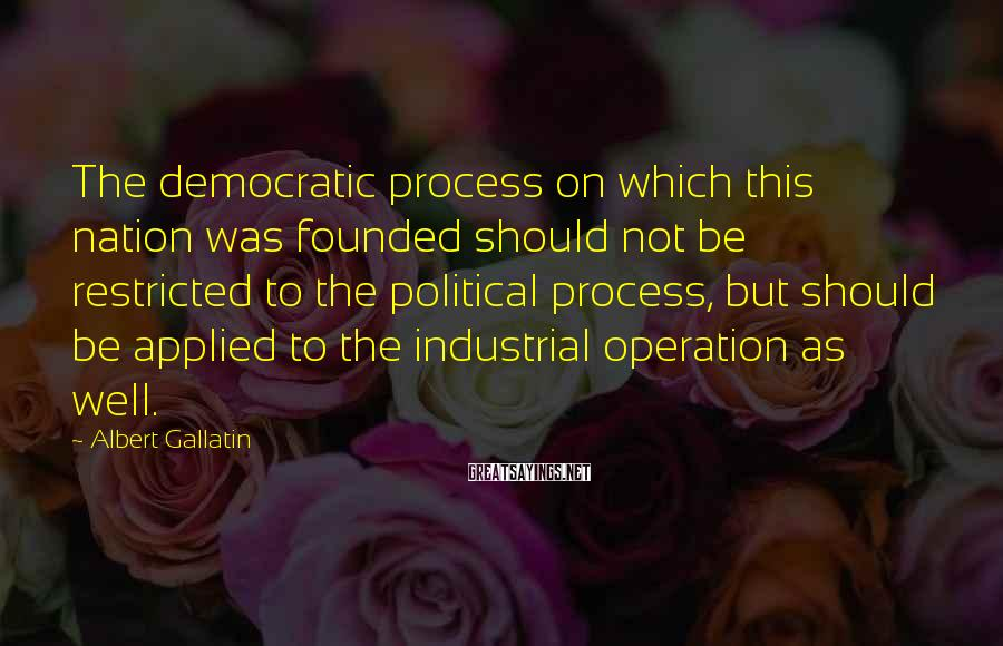 Albert Gallatin Sayings: The democratic process on which this nation was founded should not be restricted to the