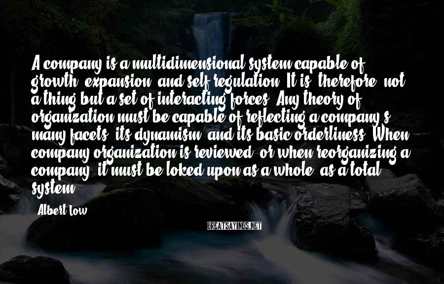 Albert Low Sayings: A company is a multidimensional system capable of growth, expansion, and self-regulation. It is, therefore,