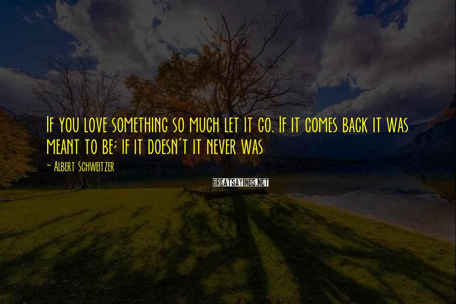 Albert Schweitzer Sayings: If you love something so much let it go. If it comes back it was