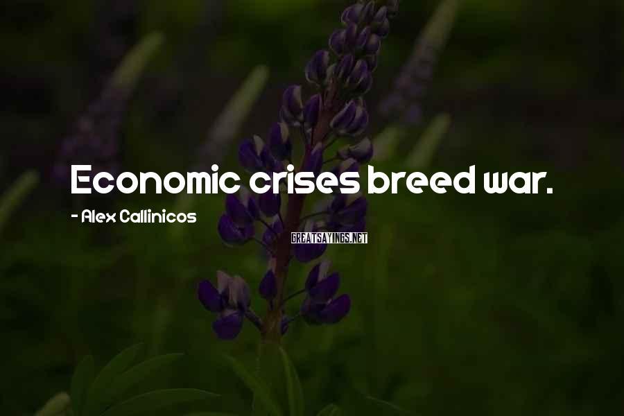 Alex Callinicos Sayings: Economic crises breed war.