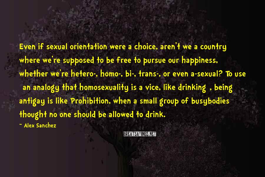 Alex Sanchez Sayings: Even if sexual orientation were a choice, aren't we a country where we're supposed to