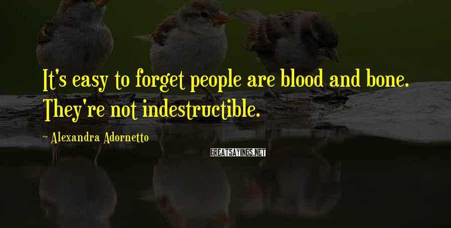 Alexandra Adornetto Sayings: It's easy to forget people are blood and bone. They're not indestructible.