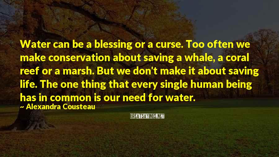 Alexandra Cousteau Sayings: Water can be a blessing or a curse. Too often we make conservation about saving