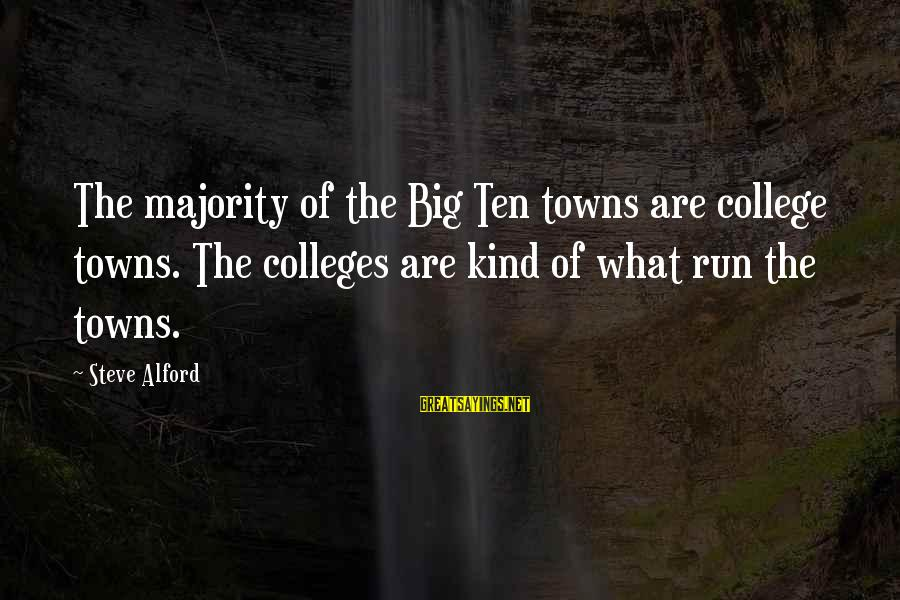 Alford Sayings By Steve Alford: The majority of the Big Ten towns are college towns. The colleges are kind of