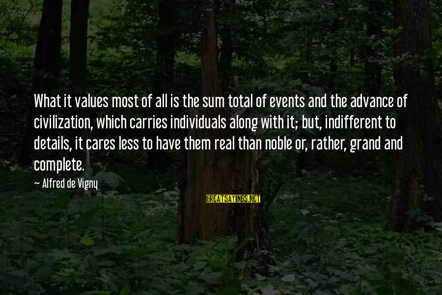 Alfred Vigny Sayings By Alfred De Vigny: What it values most of all is the sum total of events and the advance