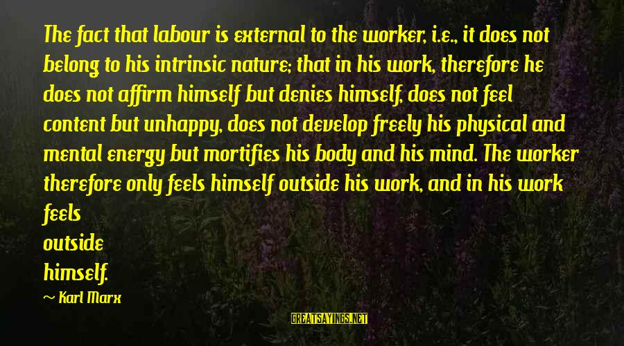 Alienation Sayings By Karl Marx: The fact that labour is external to the worker, i.e., it does not belong to