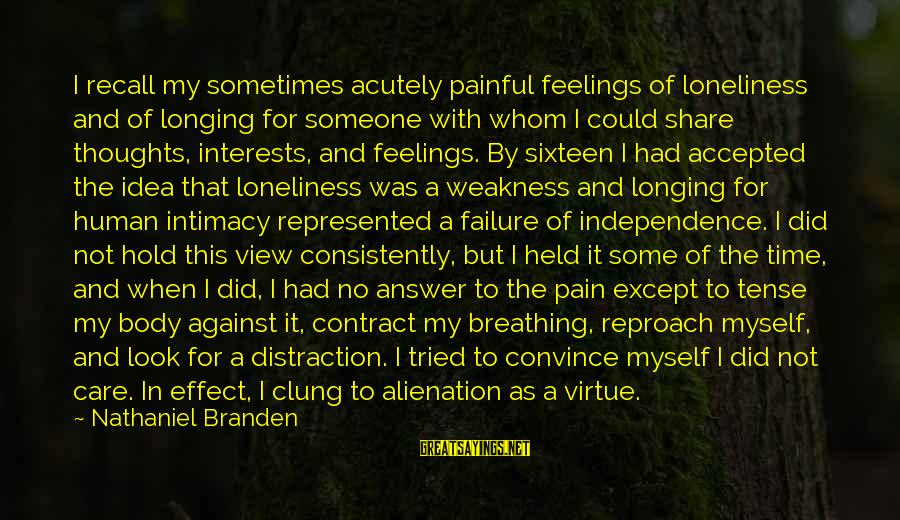 Alienation Sayings By Nathaniel Branden: I recall my sometimes acutely painful feelings of loneliness and of longing for someone with