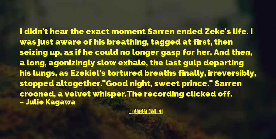 Allie's Death Sayings By Julie Kagawa: I didn't hear the exact moment Sarren ended Zeke's life. I was just aware of