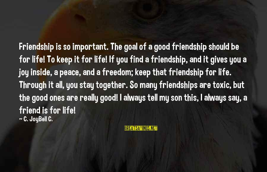 Always Find The Good Sayings By C. JoyBell C.: Friendship is so important. The goal of a good friendship should be for life! To