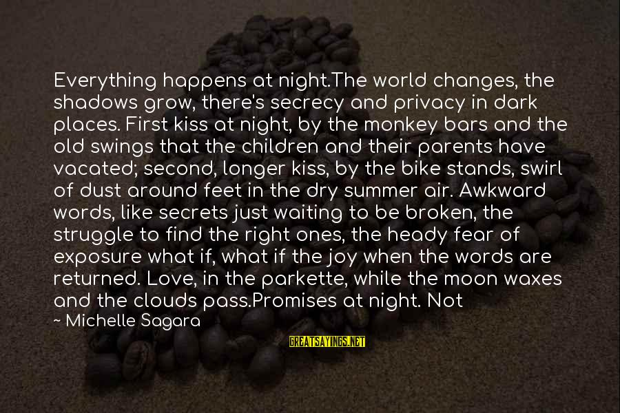 Always Find The Good Sayings By Michelle Sagara: Everything happens at night.The world changes, the shadows grow, there's secrecy and privacy in dark