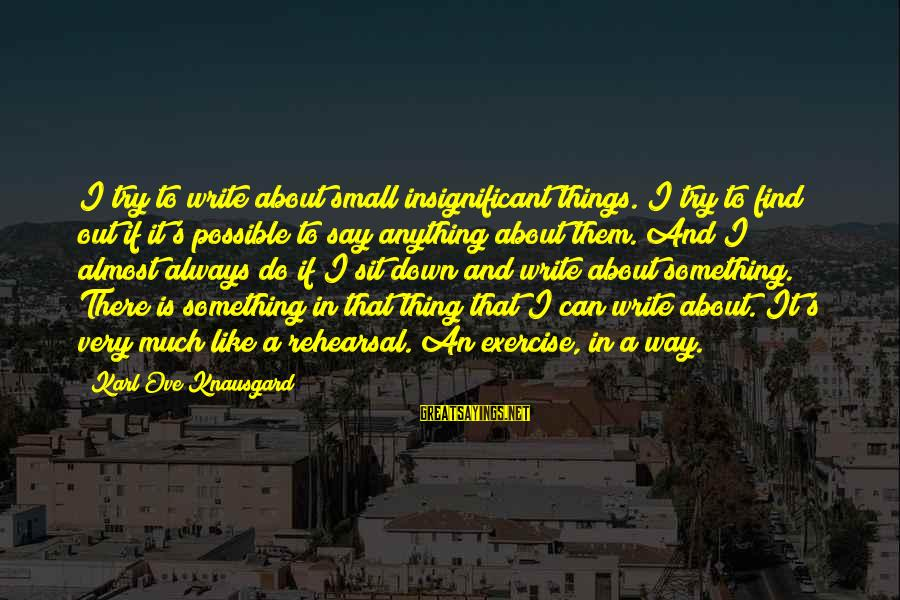 Always Find Things Out Sayings By Karl Ove Knausgard: I try to write about small insignificant things. I try to find out if it's