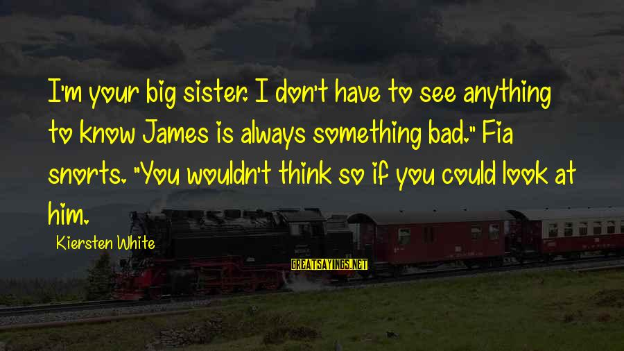 Always Think Big Sayings By Kiersten White: I'm your big sister. I don't have to see anything to know James is always