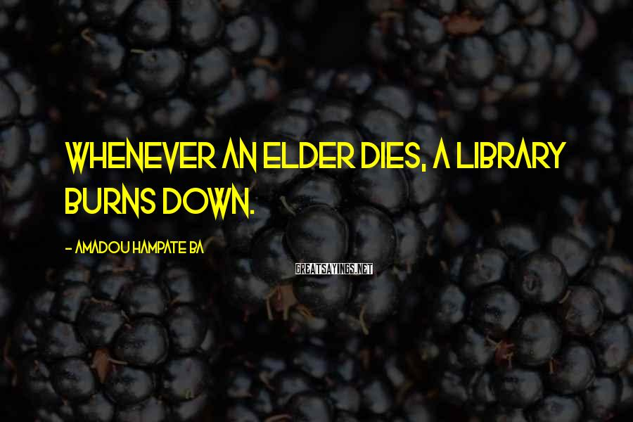 Amadou Hampate Ba Sayings: Whenever an elder dies, a library burns down.