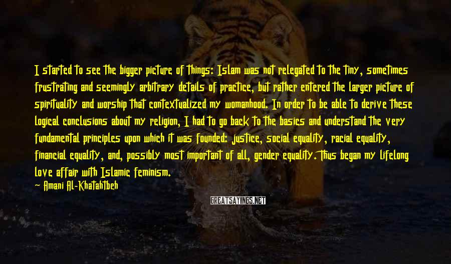 Amani Al-Khatahtbeh Sayings: I started to see the bigger picture of things: Islam was not relegated to the
