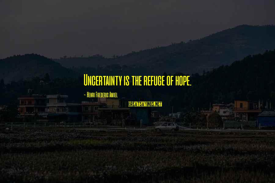 Amiel Henri Frederic Sayings By Henri Frederic Amiel: Uncertainty is the refuge of hope.