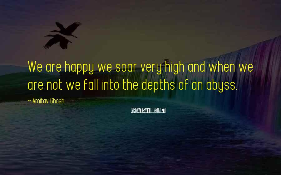Amitav Ghosh Sayings: We are happy we soar very high and when we are not we fall into