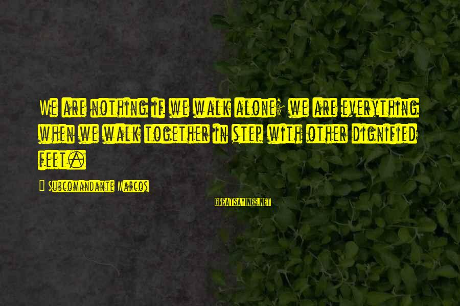 Amusedly Sayings By Subcomandante Marcos: We are nothing if we walk alone; we are everything when we walk together in