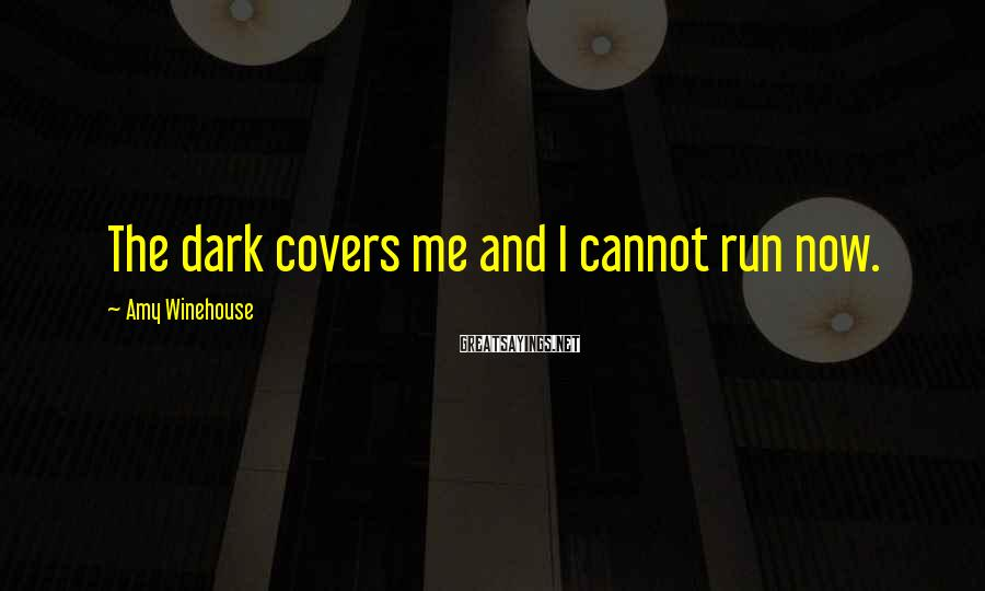 Amy Winehouse Sayings: The dark covers me and I cannot run now.