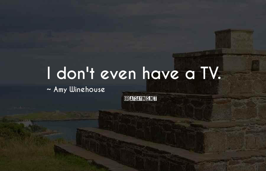 Amy Winehouse Sayings: I don't even have a TV.