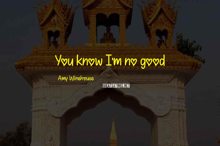 Amy Winehouse Sayings: You know I'm no good
