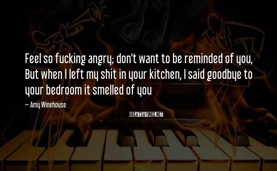 Amy Winehouse Sayings: Feel so fucking angry; don't want to be reminded of you, But when I left