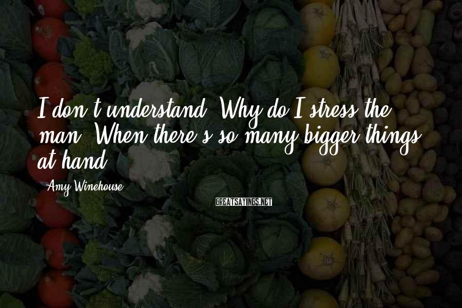 Amy Winehouse Sayings: I don't understand, Why do I stress the man, When there's so many bigger things