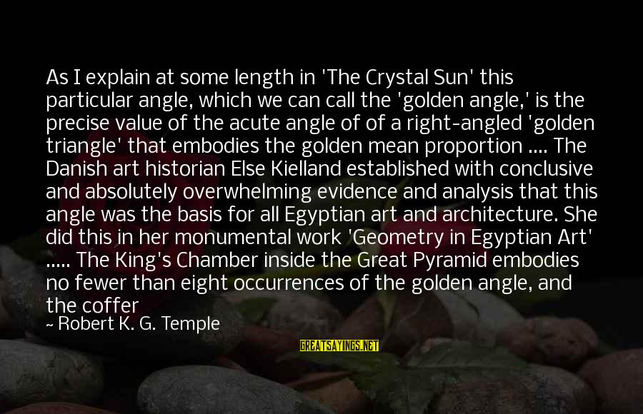 Ancient Egyptian Architecture Sayings By Robert K. G. Temple: As I explain at some length in 'The Crystal Sun' this particular angle, which we