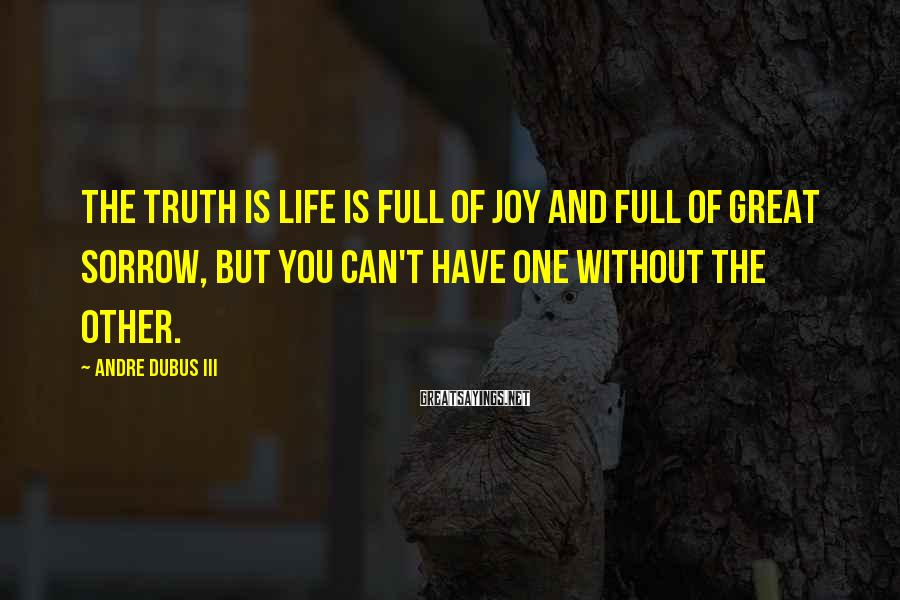 Andre Dubus III Sayings: The truth is life is full of joy and full of great sorrow, but you