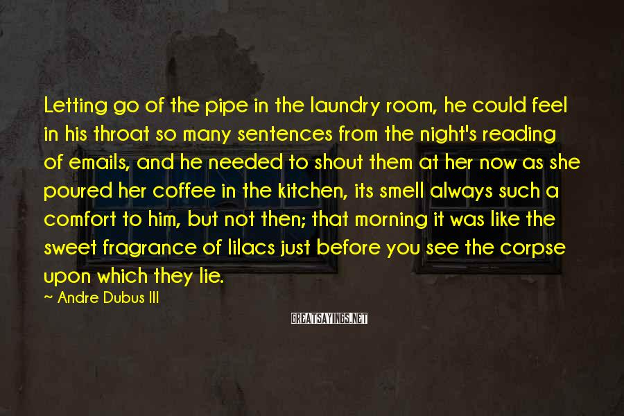 Andre Dubus III Sayings: Letting go of the pipe in the laundry room, he could feel in his throat