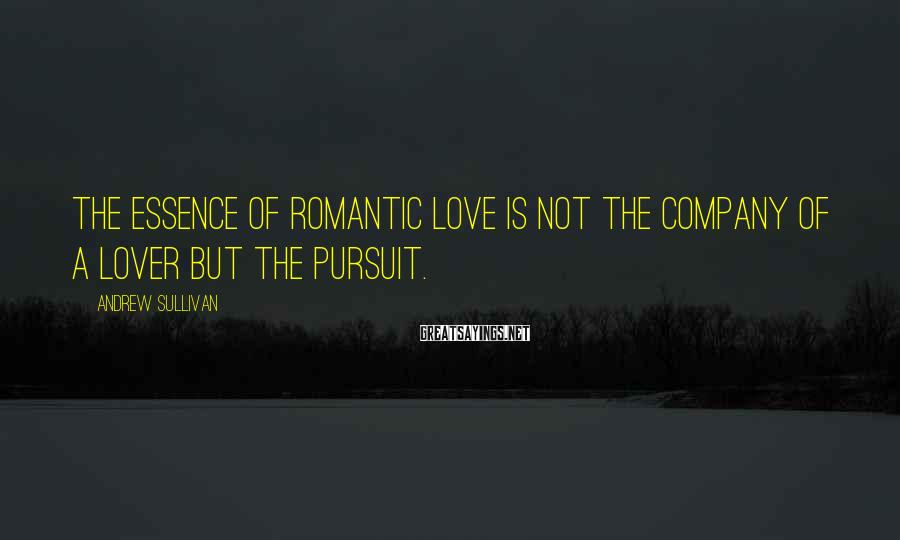 Andrew Sullivan Sayings: The essence of romantic love is not the company of a lover but the pursuit.