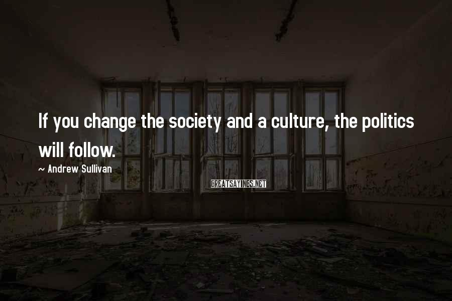 Andrew Sullivan Sayings: If you change the society and a culture, the politics will follow.