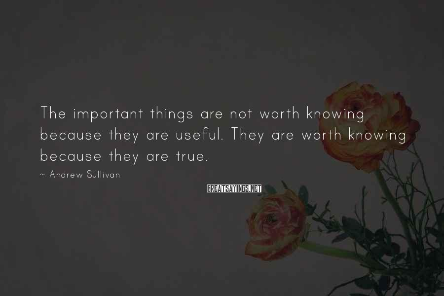 Andrew Sullivan Sayings: The important things are not worth knowing because they are useful. They are worth knowing