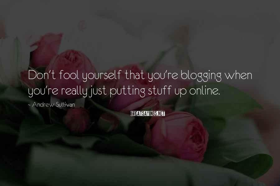 Andrew Sullivan Sayings: Don't fool yourself that you're blogging when you're really just putting stuff up online.