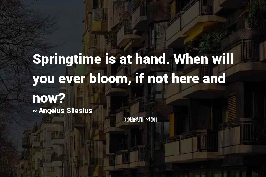 Angelus Silesius Sayings: Springtime is at hand. When will you ever bloom, if not here and now?