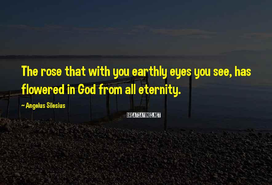 Angelus Silesius Sayings: The rose that with you earthly eyes you see, has flowered in God from all
