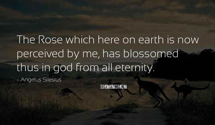 Angelus Silesius Sayings: The Rose which here on earth is now perceived by me, has blossomed thus in