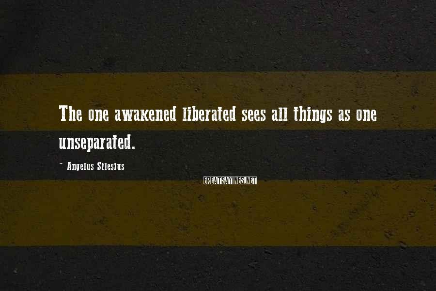 Angelus Silesius Sayings: The one awakened liberated sees all things as one unseparated.