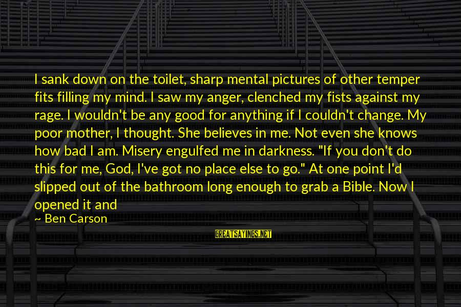 Anger And Rage Sayings By Ben Carson: I sank down on the toilet, sharp mental pictures of other temper fits filling my