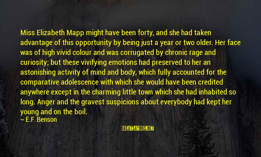 Anger And Rage Sayings By E.F. Benson: Miss Elizabeth Mapp might have been forty, and she had taken advantage of this opportunity