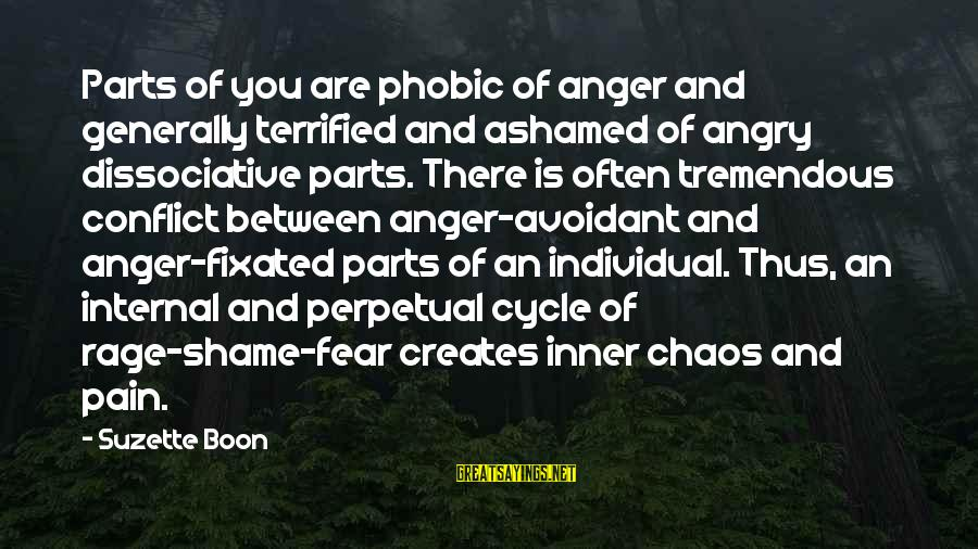 Anger And Rage Sayings By Suzette Boon: Parts of you are phobic of anger and generally terrified and ashamed of angry dissociative