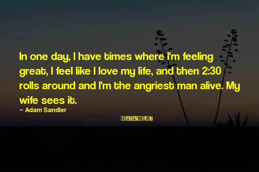 Angriest Sayings By Adam Sandler: In one day, I have times where I'm feeling great, I feel like I love