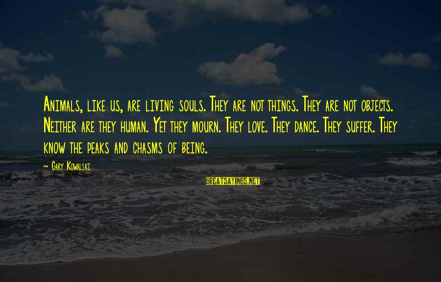 Animals And Souls Sayings By Gary Kowalski: Animals, like us, are living souls. They are not things. They are not objects. Neither