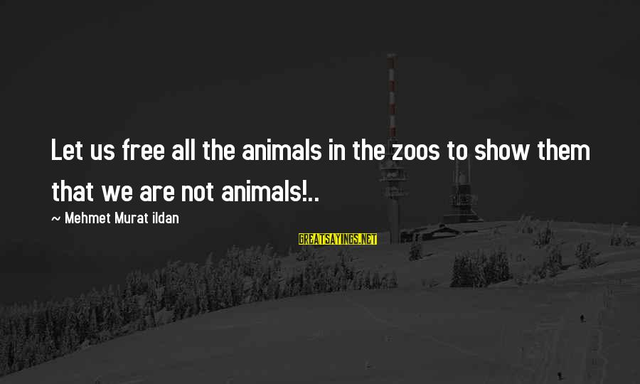 Animals In Zoos Sayings By Mehmet Murat Ildan: Let us free all the animals in the zoos to show them that we are