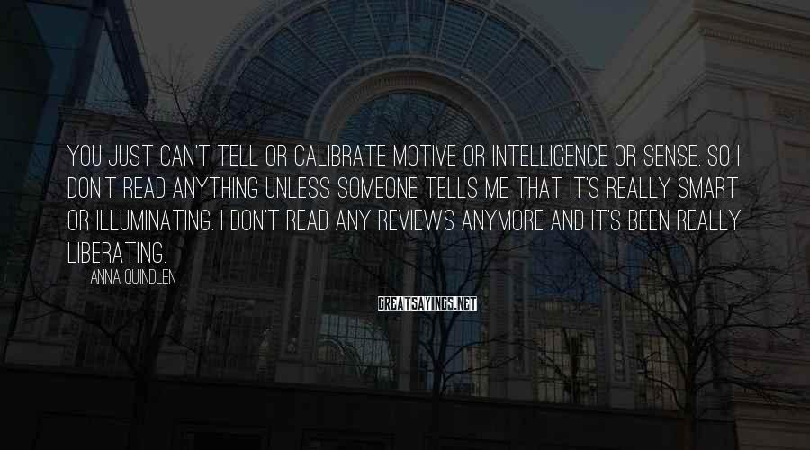 Anna Quindlen Sayings: You just can't tell or calibrate motive or intelligence or sense. So I don't read
