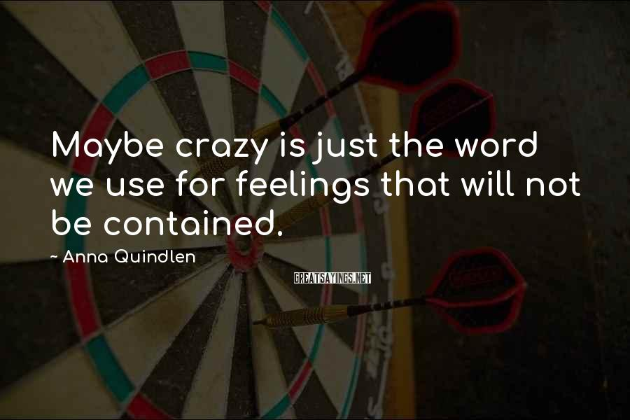 Anna Quindlen Sayings: Maybe crazy is just the word we use for feelings that will not be contained.