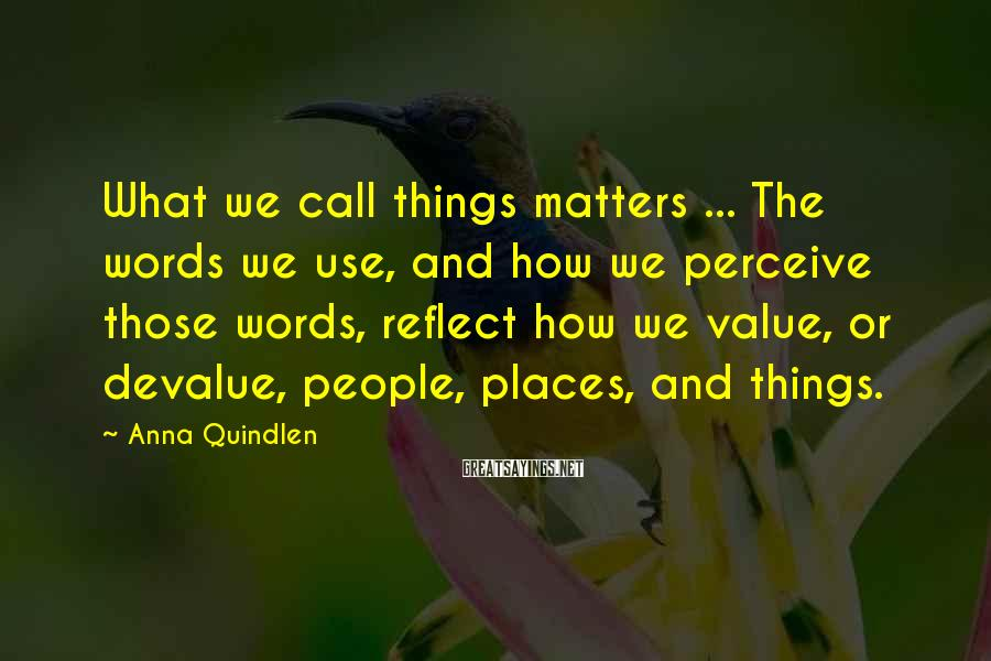 Anna Quindlen Sayings: What we call things matters ... The words we use, and how we perceive those