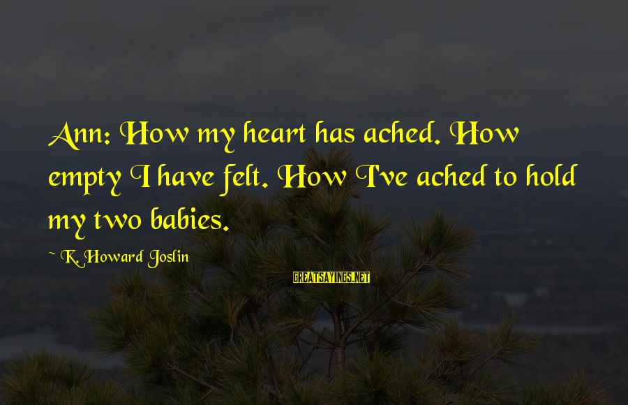 Annual Day Speech Sayings By K. Howard Joslin: Ann: How my heart has ached. How empty I have felt. How I've ached to